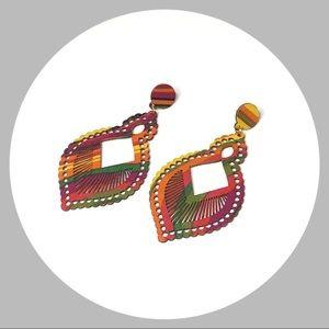Dangling Multicolored Filigree Earrings